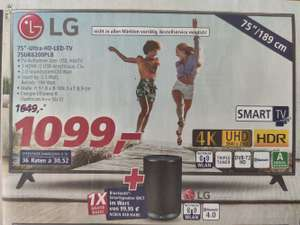 "LG 75""-Ultra-HD-LED-TV 75UK6200PLB + Gratis Smartspeaker WK7 (Wert ca. 95€)"