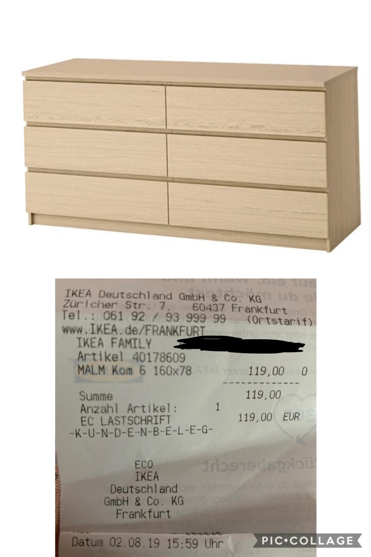 (Ikea) Verschiedene Malm Kommoden in Frankfurt reduziert, bspw. mit 6 Schubladen in Eichenfunier weiß lasiert Ikea (Lokal Frankfurt)