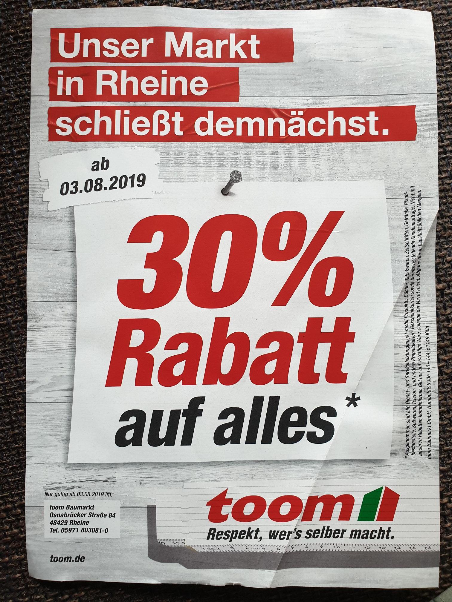 Lokal - toom Rheine schließt,  30 % Rabatt auf alles