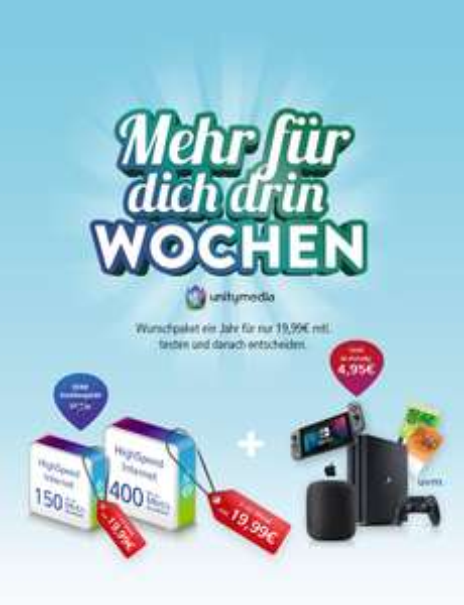 Unitymedia-Deals, z.B. 2play JUMP 150 Mbit/s inkl. WLAN-Router mit 250€ Cashback od. Nintendo Switch, Apple HomePod od. Watch Series 5, etc.