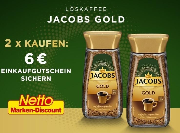 [NETTO MD BUNDESWEIT] 2 Packungen Jacobs Gold lösl. Bohnenkaffee für 9,98€ + 6€ Netto Einkaufsgutschein on top (entspr. 1,99€ pro Packung)