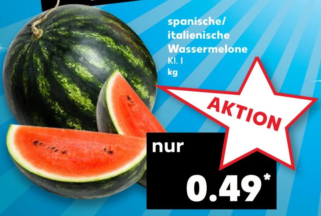 [Kaufland-Nur am 10.08] Spanisch-Italienische Wassermelonen für 0,49€ pro Kilo