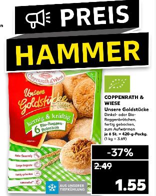 [Kaufland ab 12.08] Coppenrath & Wiese Goldstücke / Bio-Roggen oder Dinkelbrötchen (6 Stück-Tüte) für je 1,55€