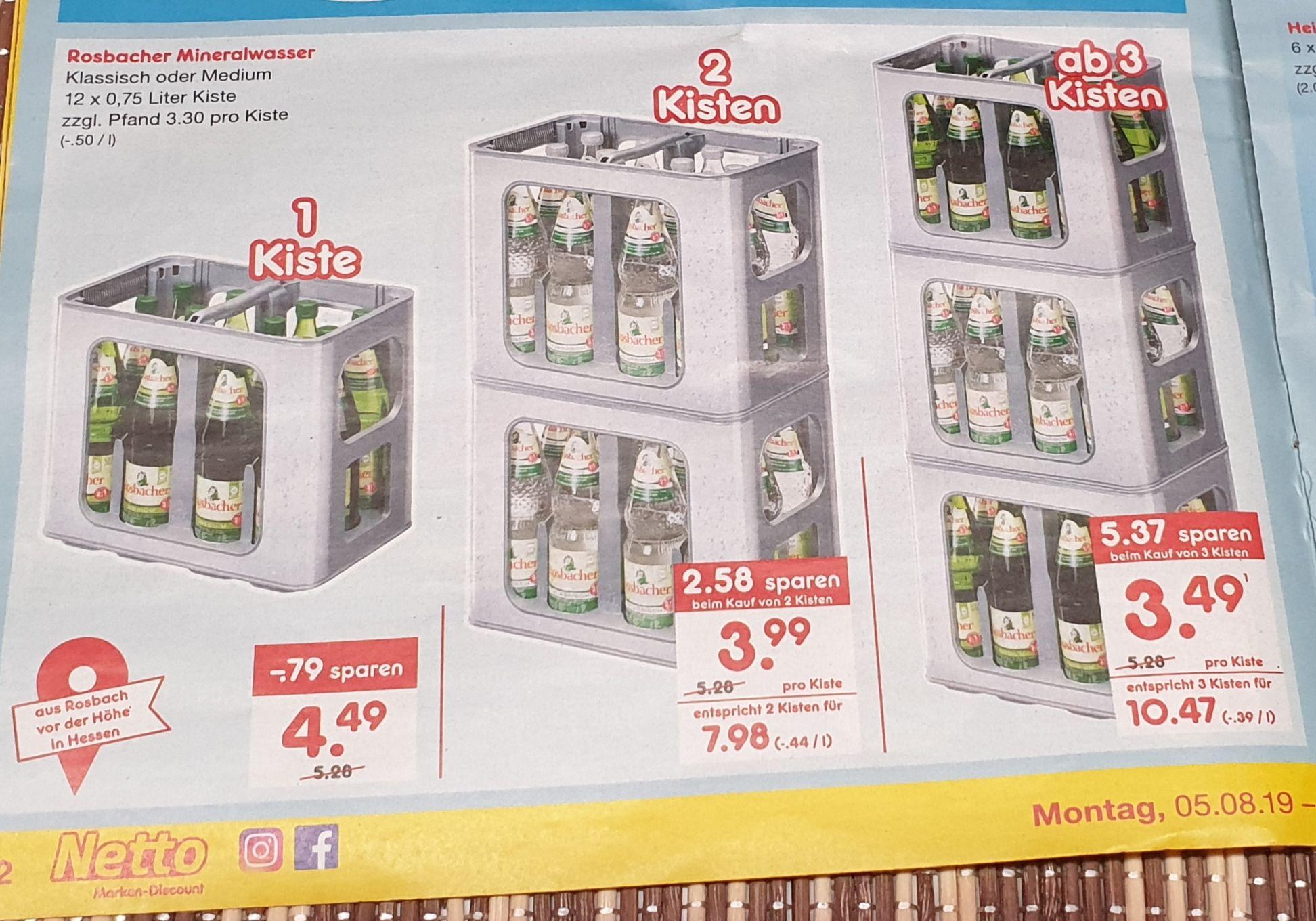 [Lokal RheinMain]NettoMD 3 Kisten Rosbacher 12x0,75 für 10,47€