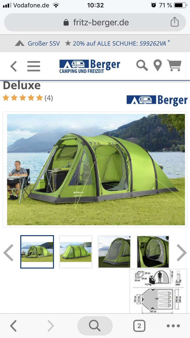 Fritz  Tunnelzelt Campo 4-L Deluxe Aufblasbares Zelt