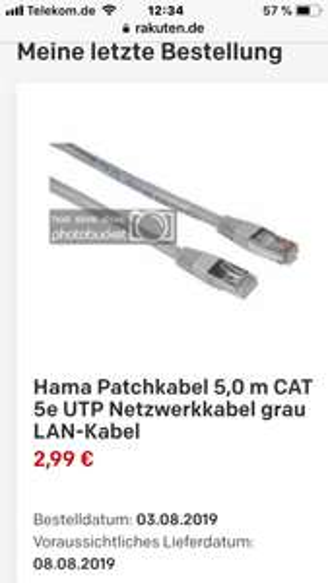 Rakuten 5 Meter Lan Kabel Hama inkl. Versand für 2,99