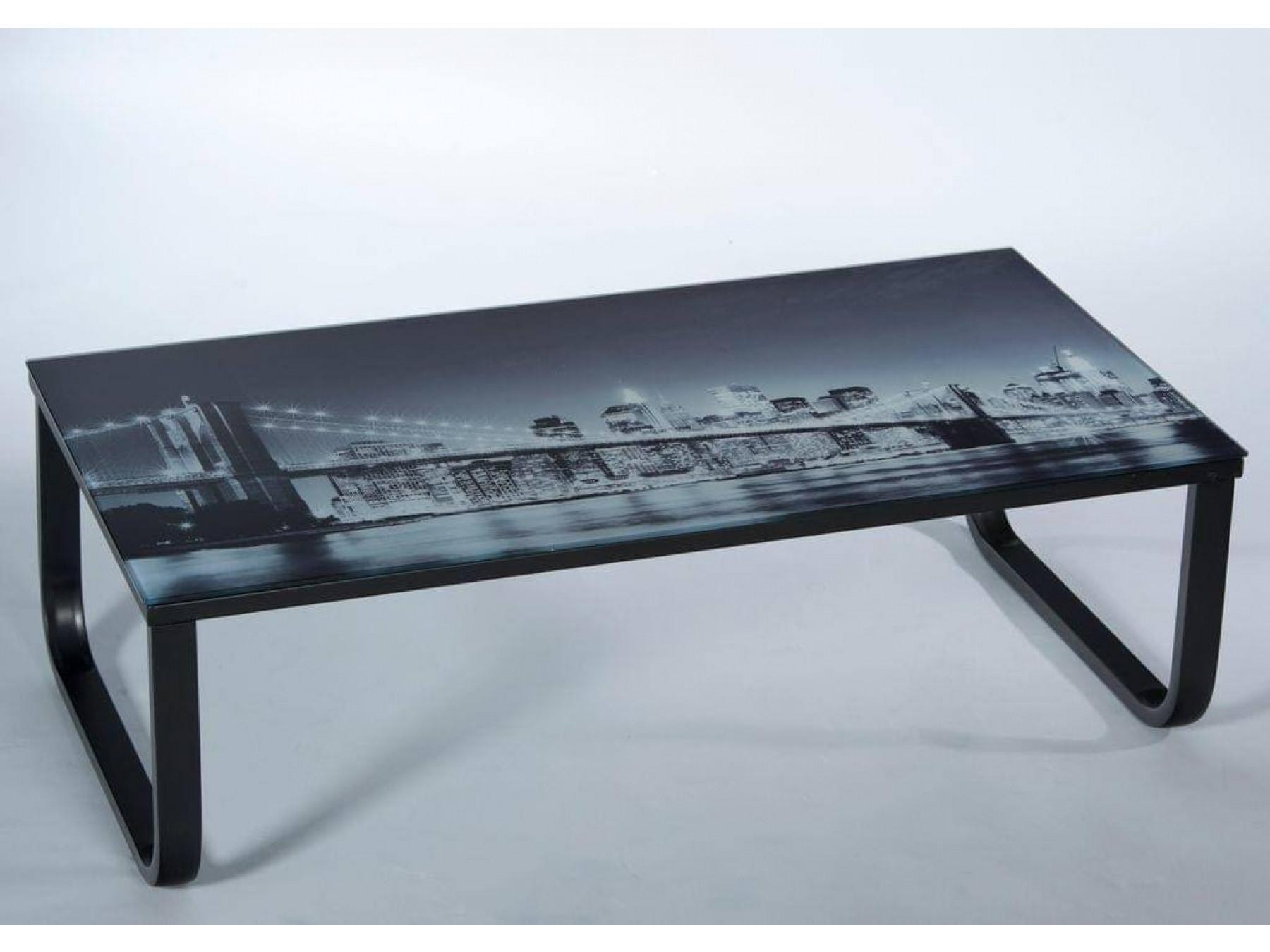 Stolkom Couchtisch/Wohnzimmertisch - Motiv Brücke aus Glas/Metall