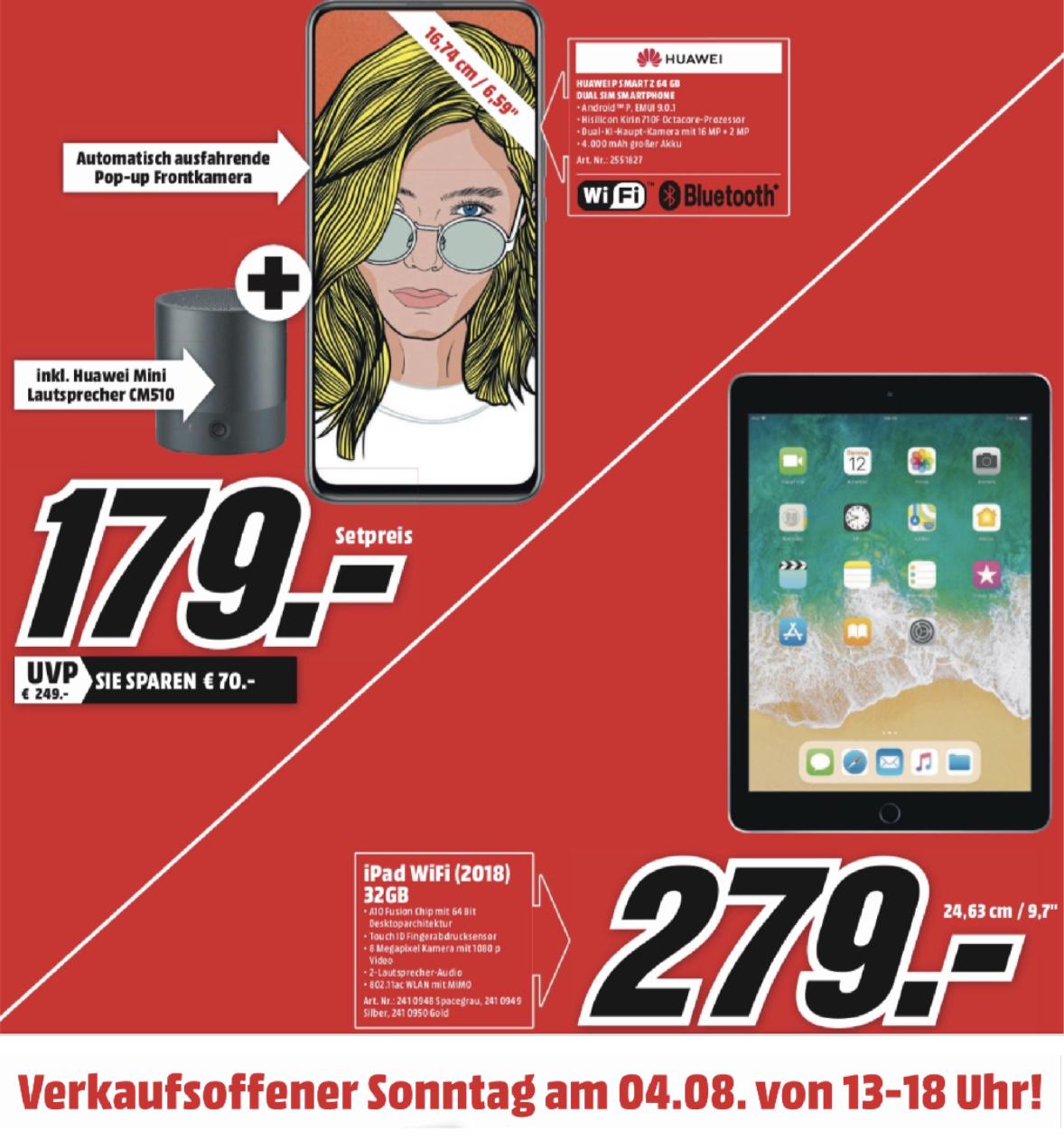 Lokal MediaMarkt Papenburg Sonntagsverkauf: Apple iPad 2018 32GB für 279€ o. Huawei P SMART Z + Lautsprecher für 179€  - u. weitere Angebote