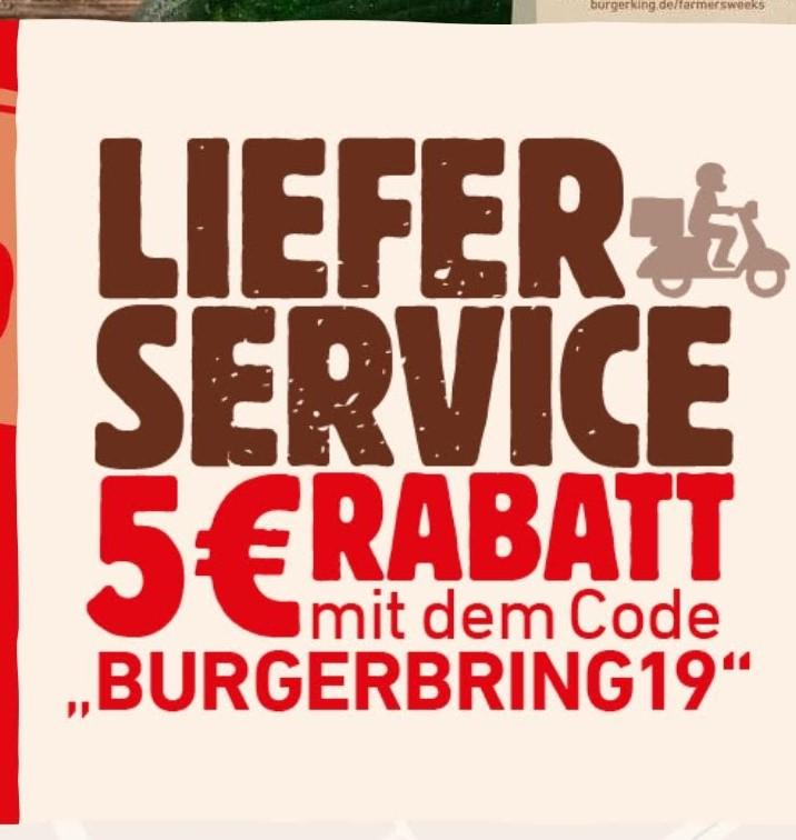 [Burger King] 5€ Rabatt auf die Bestellung via App (Lieferservice)