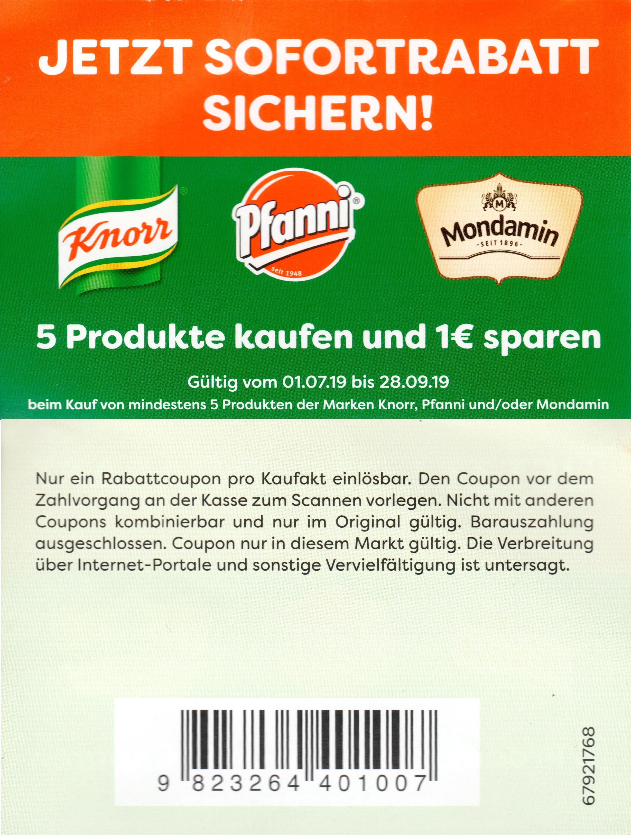 1€ Sofort-Rabatt für den Kauf von 5x Knorr, Pfanni oder Mondamin Produkten [Edeka] bis 28.09.2019