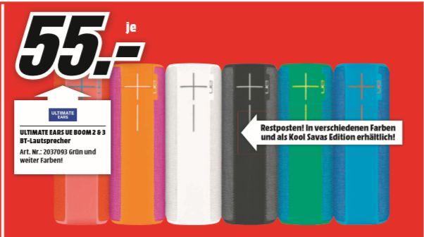 [Regional Mediamarkt Frankfurt-Borsigallee ab 08.08] ULTIMATE EARS UE BOOM 2 & 3 BT-Lautsprecher für je 55,-€