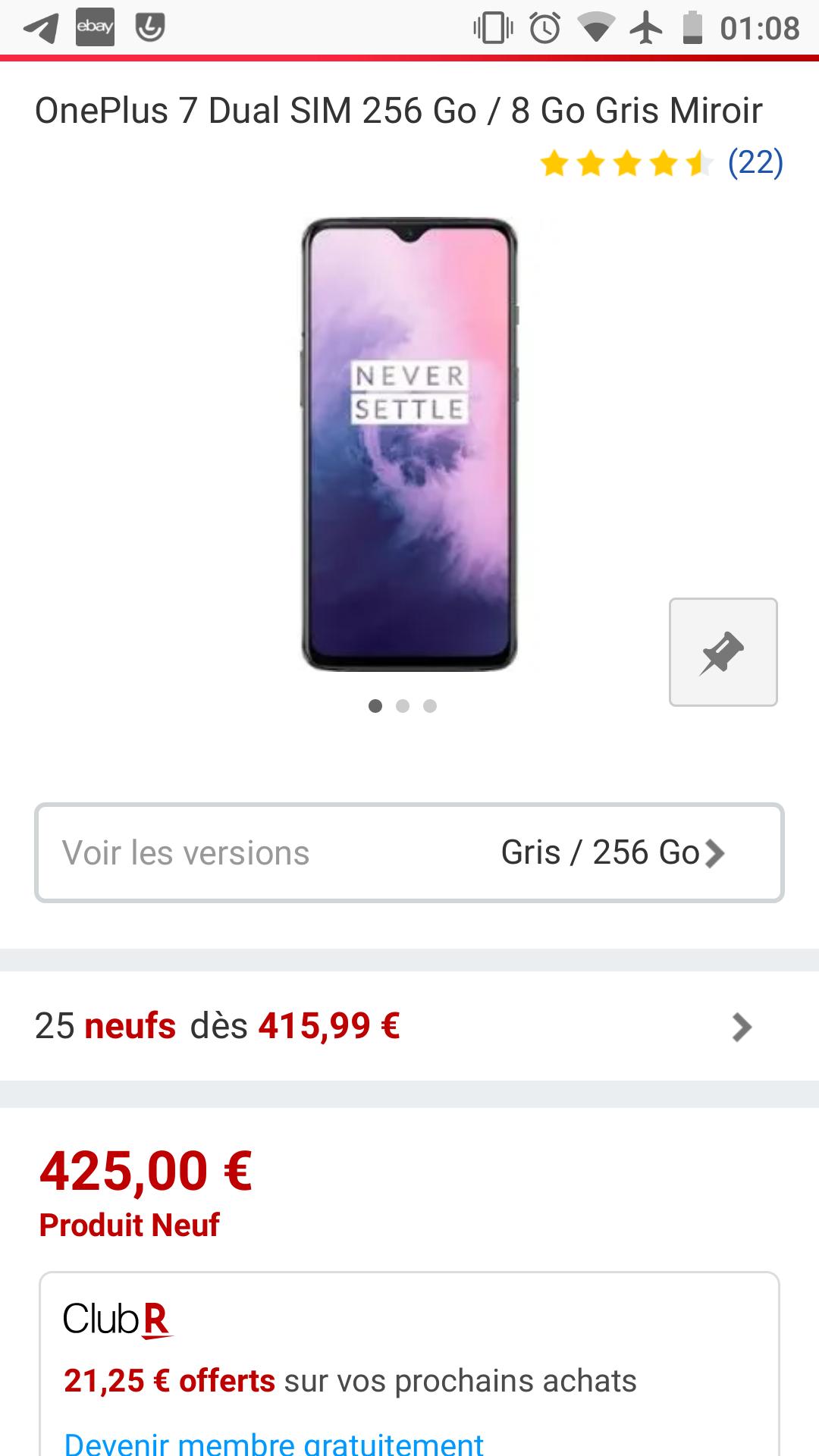 OnePlus 7 Dual SIM 256 Go / 8 Go Gris Miroir VERSAND AUS UK (7-10 Tage) RakutenFr/Importshop