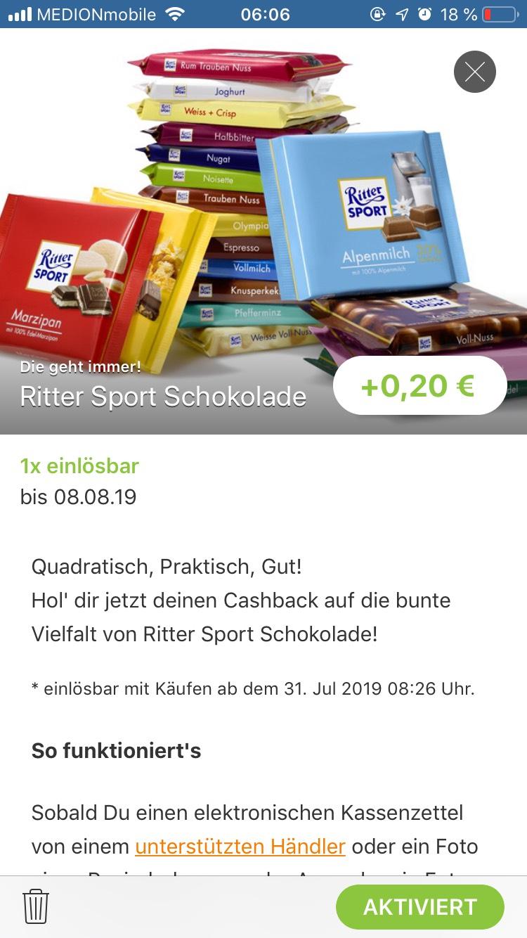 Reebate App + Penny : Ritter Sport 0.49€