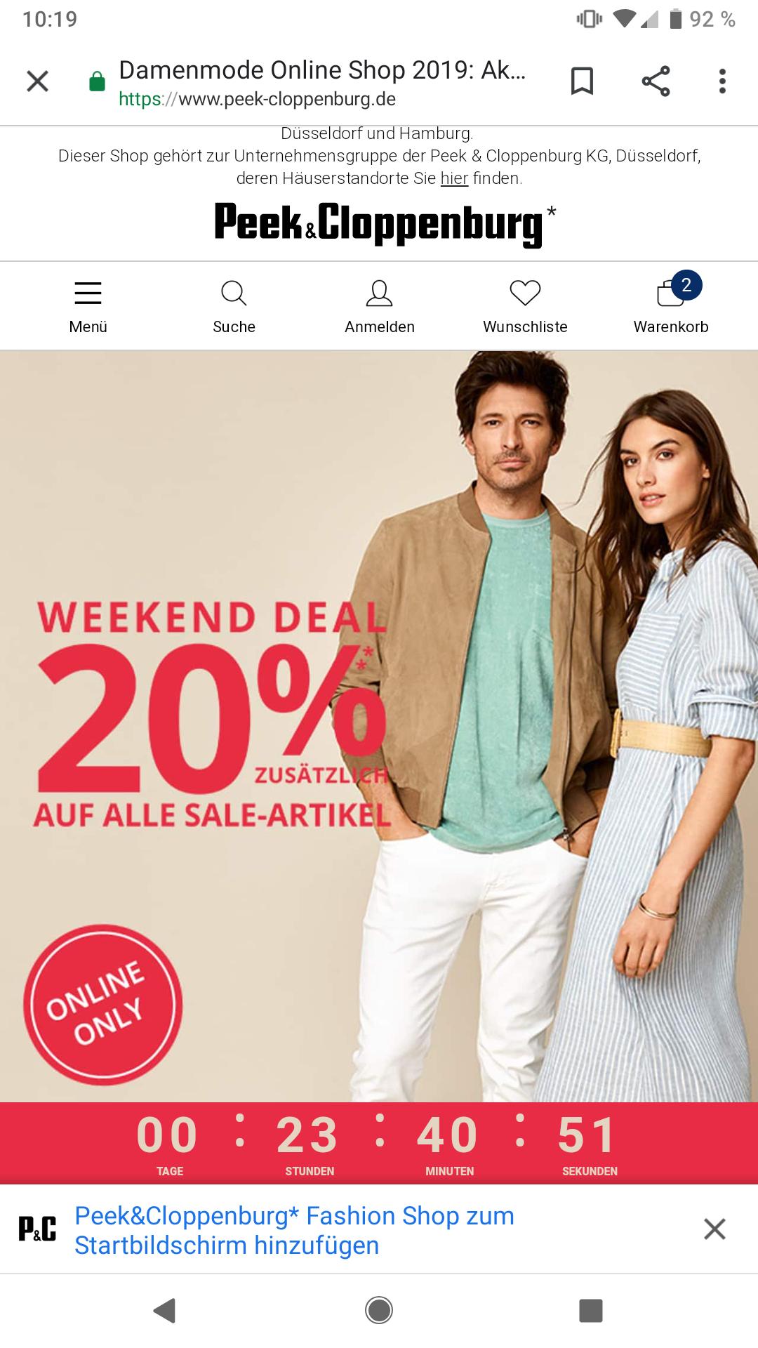 Peek&Cloppenburg 20% Extra auf alles im Sale