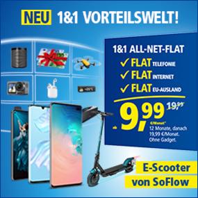 Aktion: 25 € Startguthaben bei 1&1 All-Net-Flat mit 120€ Preisvorteil oder coolem Zusatzgerät z.B. eScooter mit hoher Ersparnis ggü. UVP