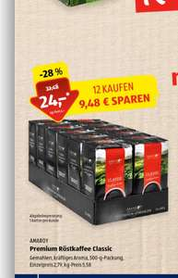 Aldi Süd Kaffee Classic 500 gr. 12 packs