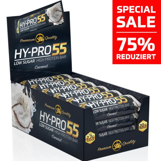 24x 55g Proteinriegel Allstars Hy-Pro 55 Cocos, Whey Crisp (MHD 06.09.19)