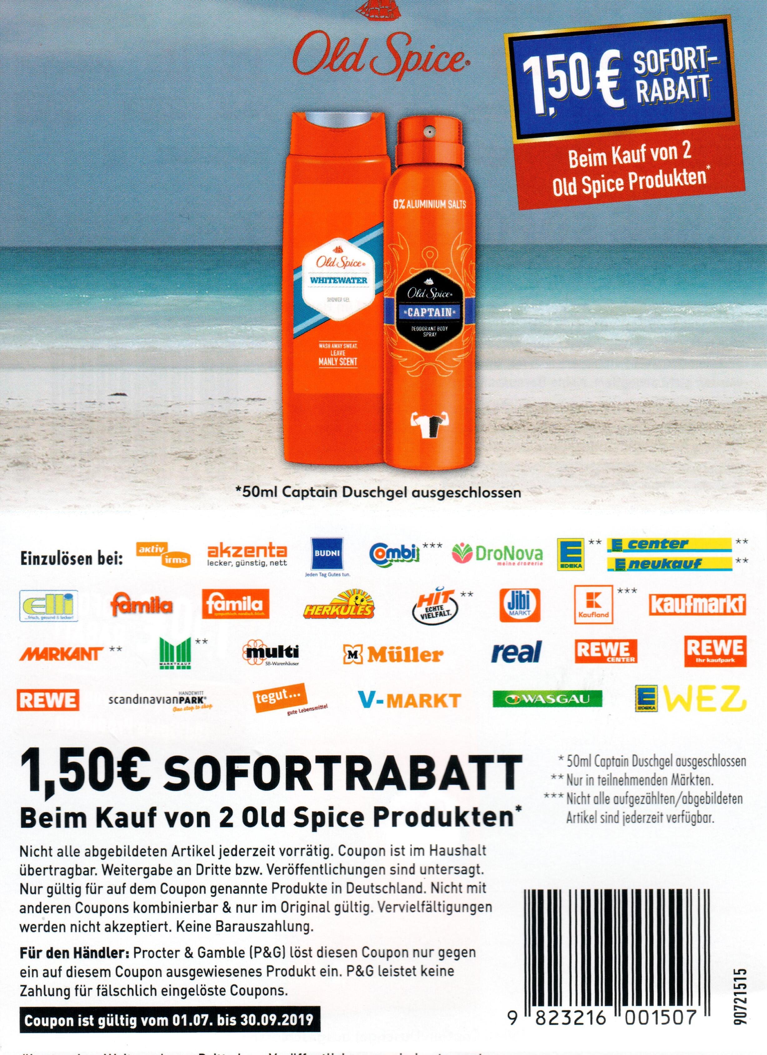 1,50€ Sofort-Rabatt Coupon für den Kauf von 2 Old Spice Produkten bis 30.09.2019