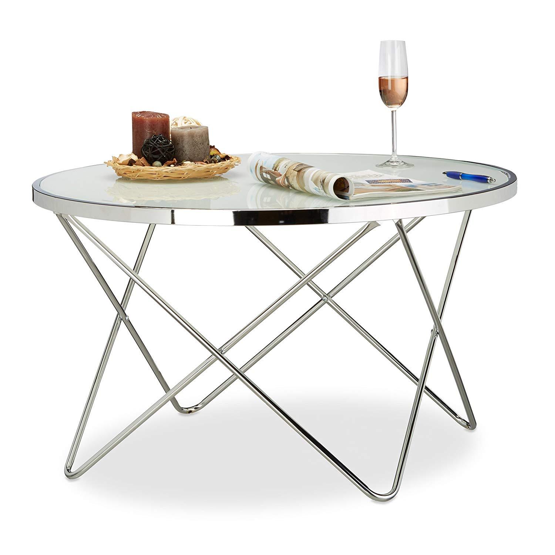 B-WARE/GEBRAUCHT - Relaxdays Beistelltisch Glas Large, Chrom, Milchglas, Couchtisch, Kaffeetisch, edel, Stahl NEUPREIS: 144,90 €!