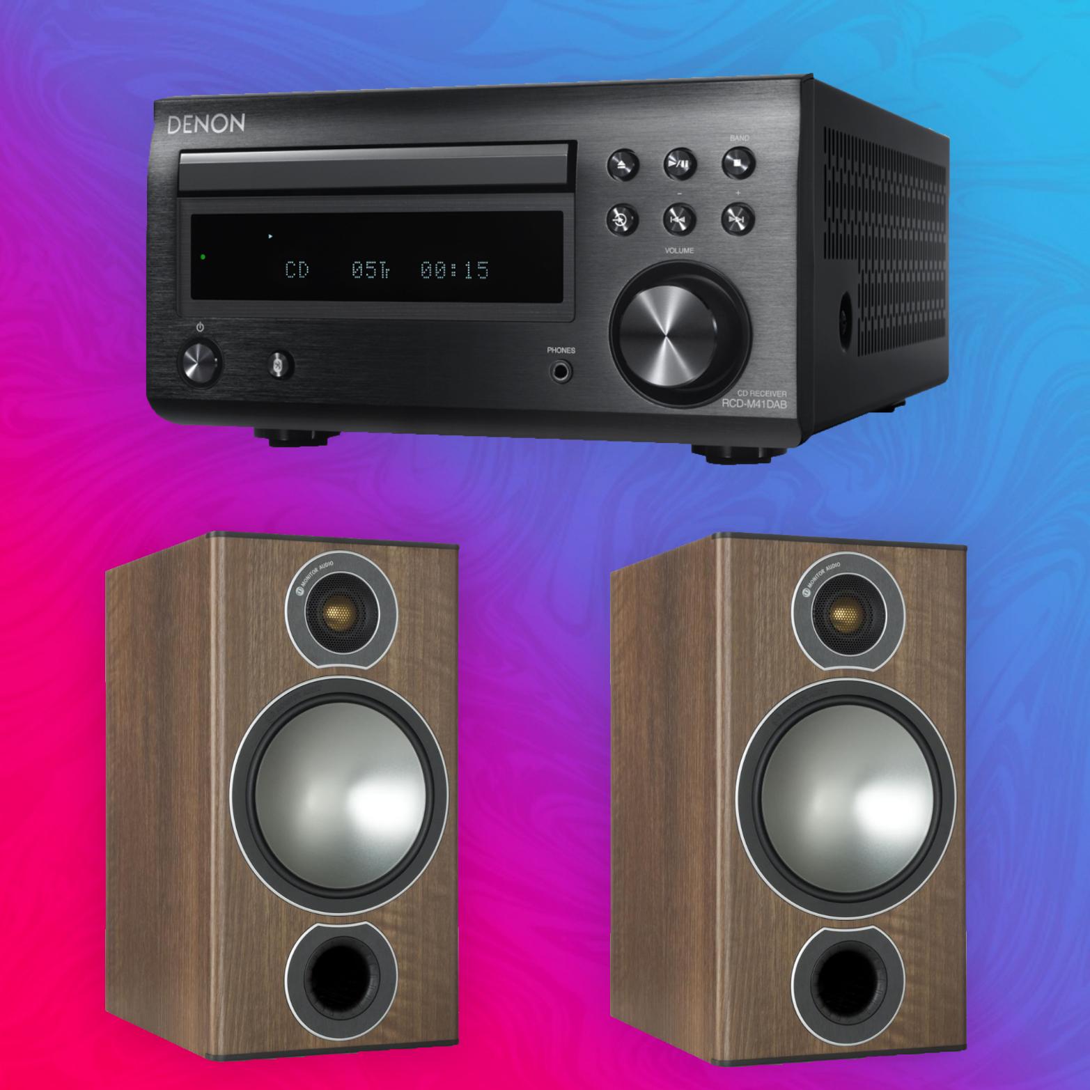 Denon RCD-M41DAB Receiver + Monitor Audio Bronze 2 Regallautsprecher | Paarpreis