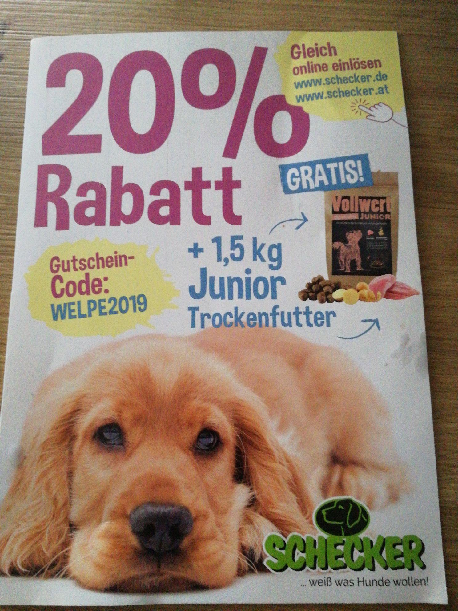 20% Rabatt auf Tiernahrung und mehr