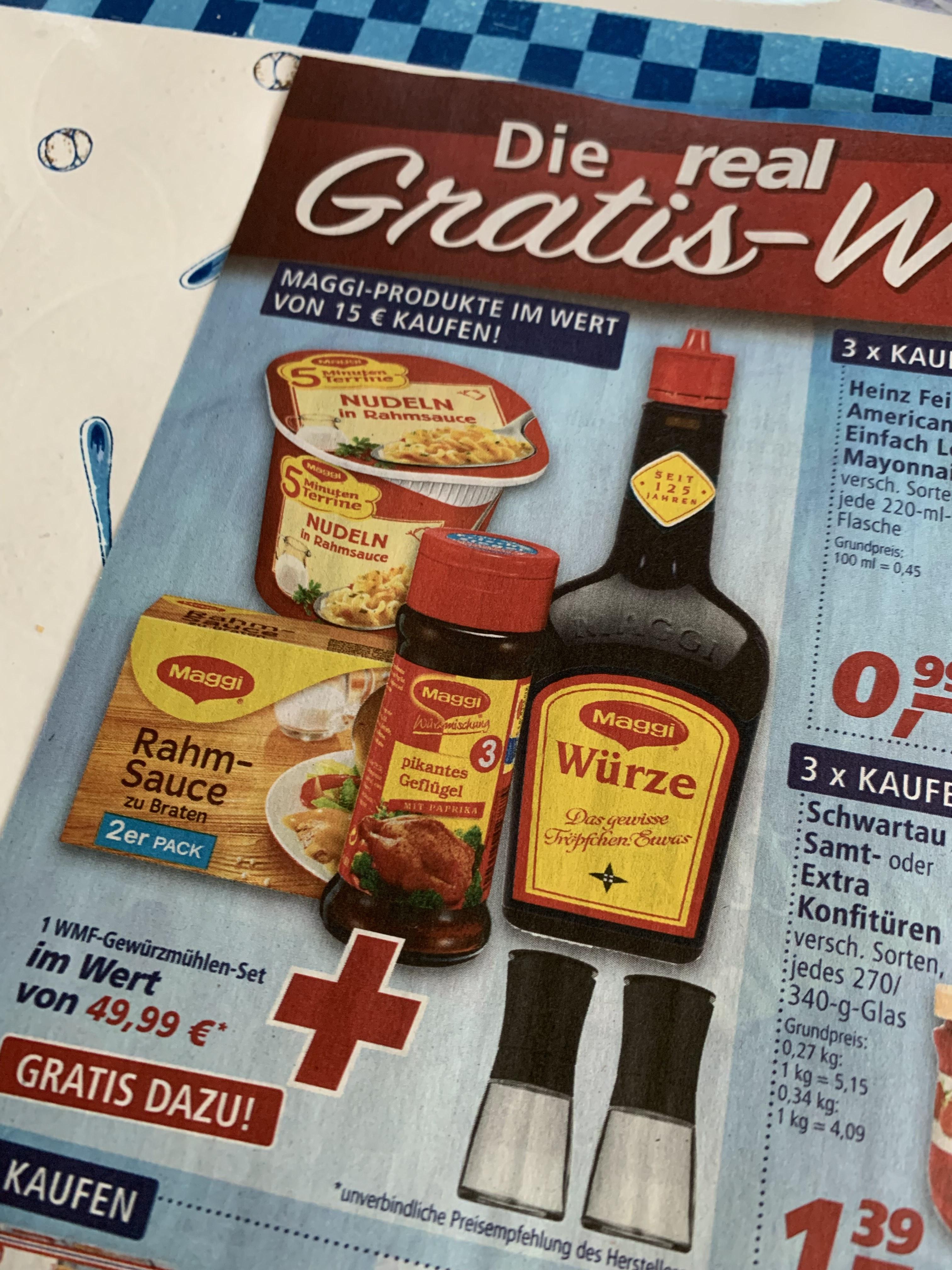 Maggi für 15 Euro bei Real kaufen, zwei WMF Gewürzmühlen gratis!!!