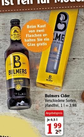 Bulmers Cider, beim kauf von 2 Flaschen ein Glas gratis