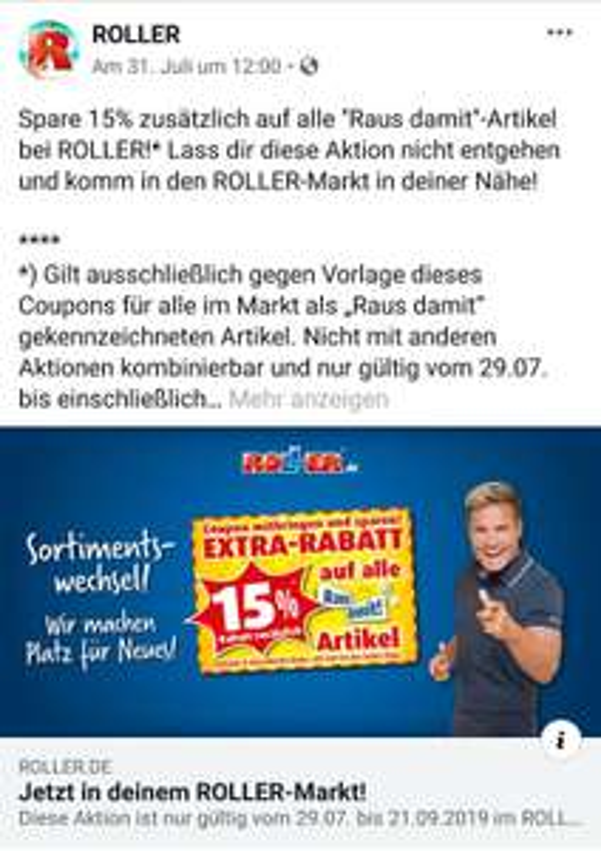 """Roller Gutscheine auf """"Raus damit"""" Artikel Lokal und reguläre Ware lokal + online"""