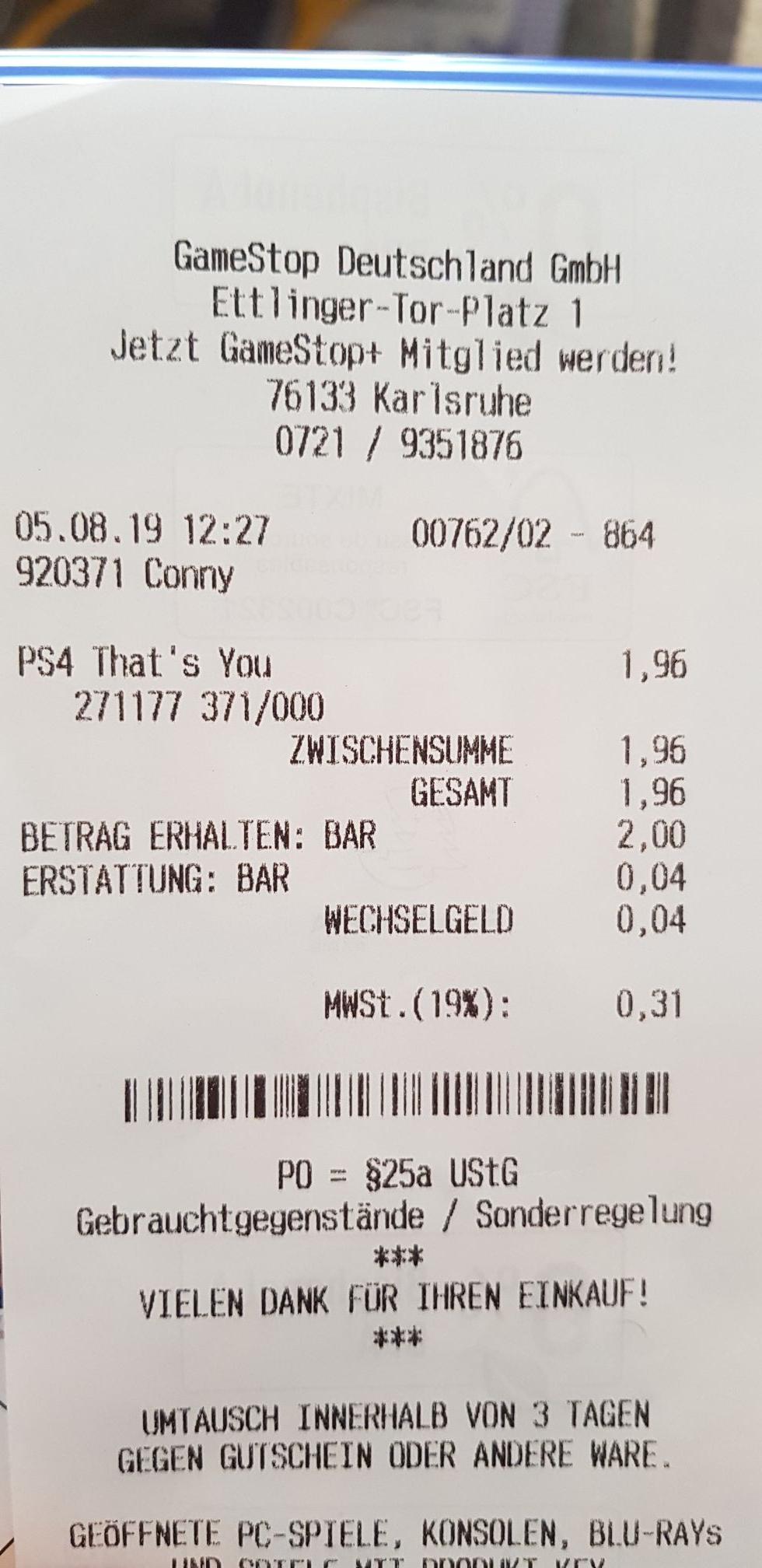 [LOKAL Karlsruhe] That's You! Im Gamestop für 1,96€