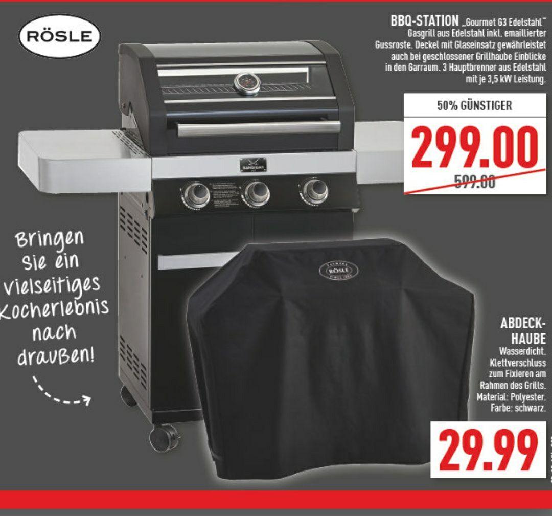 Marktkauf Nordhorn u.a. - Rösle G3 vario Sansibar Gasgrill 3 Brenner schwarz - 299€