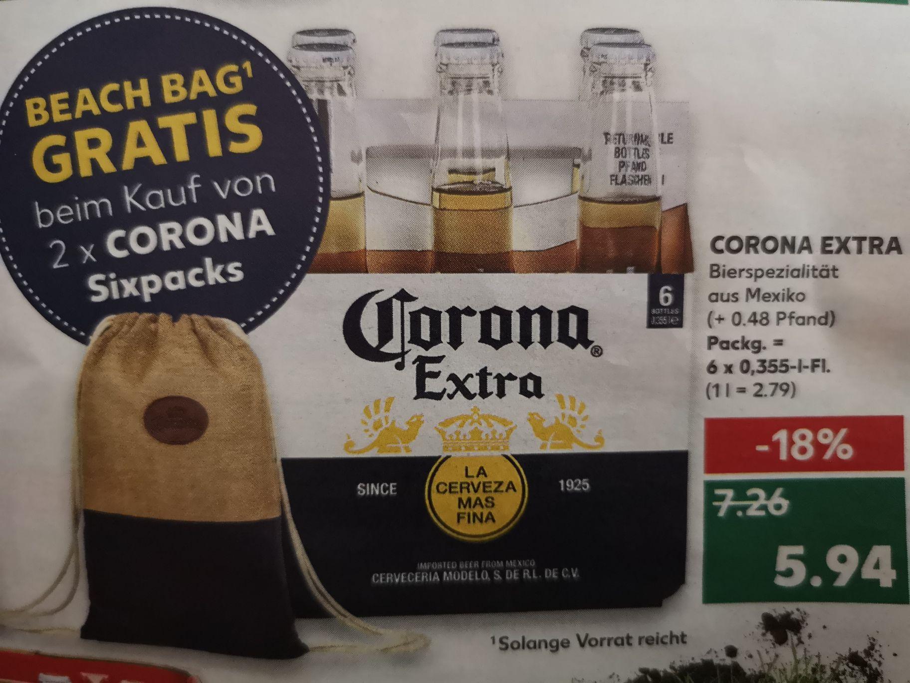 [Kaufland] Corona Extra Beer Sixpack (6x0,355l) für 5,94€ zzgl. 0,48€ Pfand - gratis Beach Bag mgl.