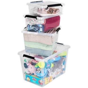 Transparente Aufbewahrungsbox aus Kunststoff in 4 verschiedene Größen (8,5l, 12l, 32l, 60l) ab 1,69 € bis 5,95 €