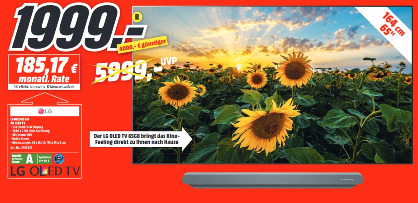 "[Lokal: Media Markt Buxtehude] LG 65G8PLA - 65"" 4K OLED TV | Samsung GQ65Q60RGT = 1111€ | JBL Link 20 =80€ | UE Megablast = 99€ | uvm."