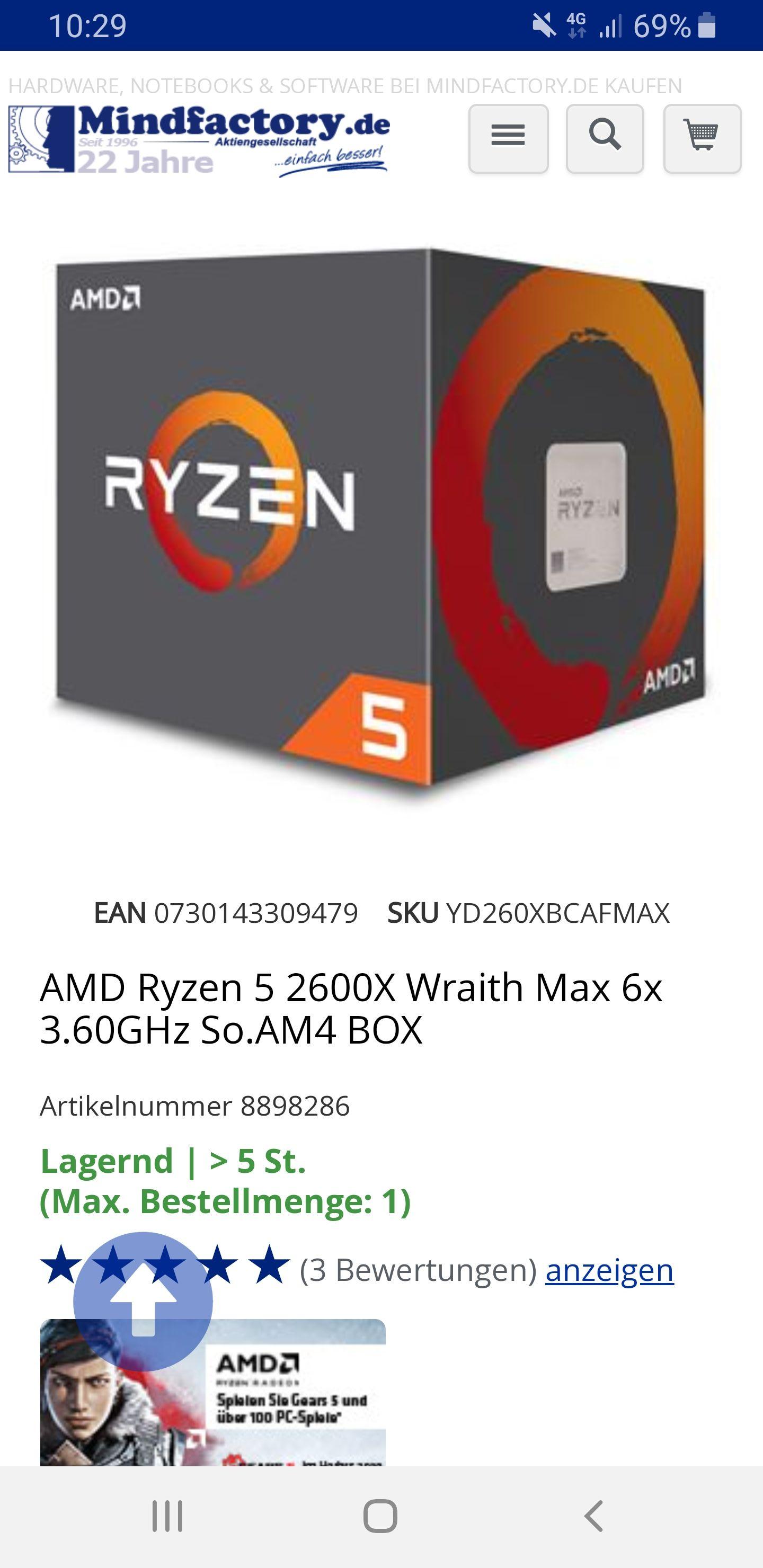 AMD Ryzen 5 2600X, 6x 3.60GHz, boxed mit Wraith Maxfür 148,89€ Mindfactory