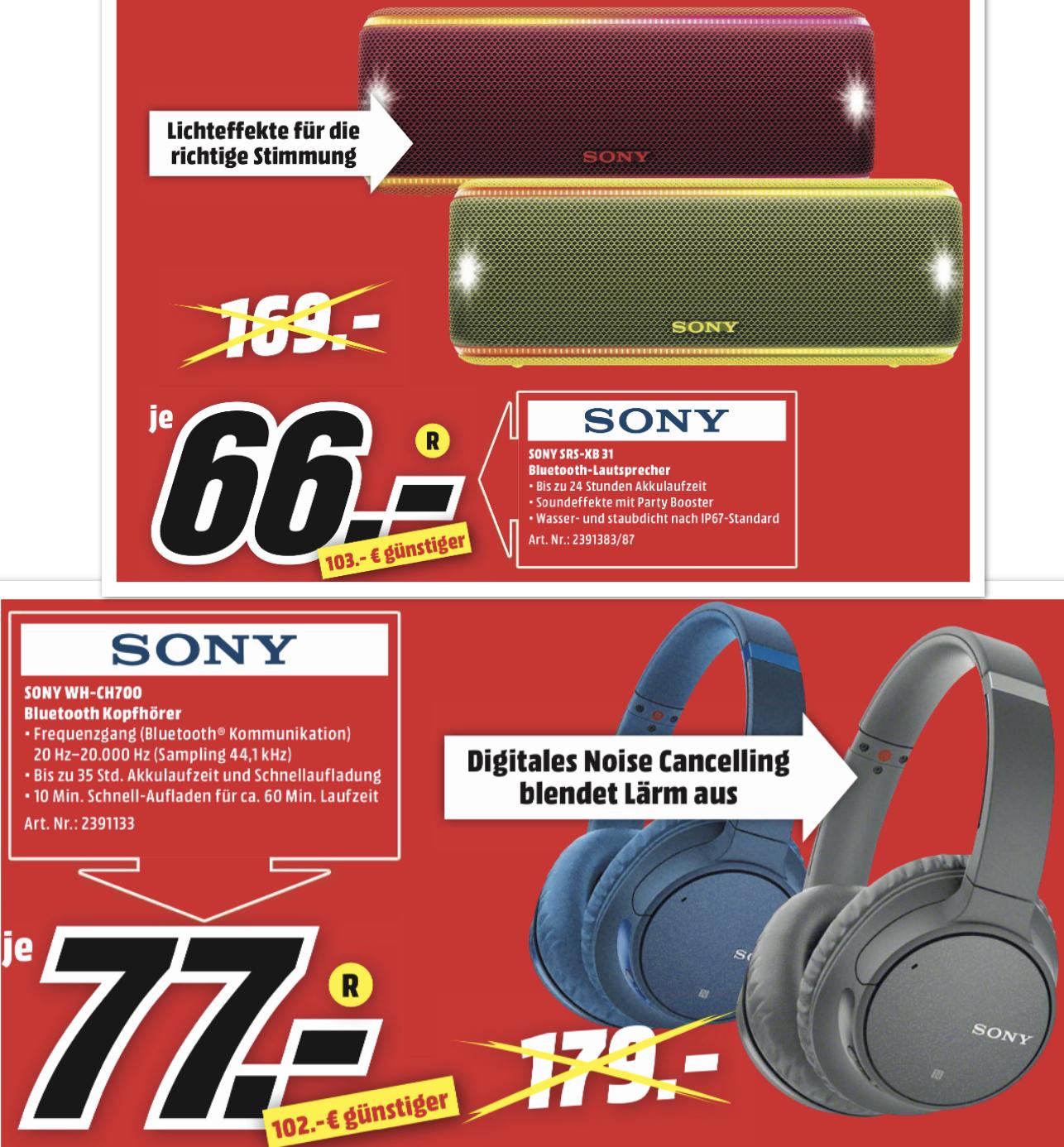 Lokal MediaMarkt Rendsburg: Sony WH-CH700N Bluetooth Kopfhörer mit Noise Cancelling für 77€ o. Sony SRS-XB 31 Bluetooth Lautsprecher für 66€