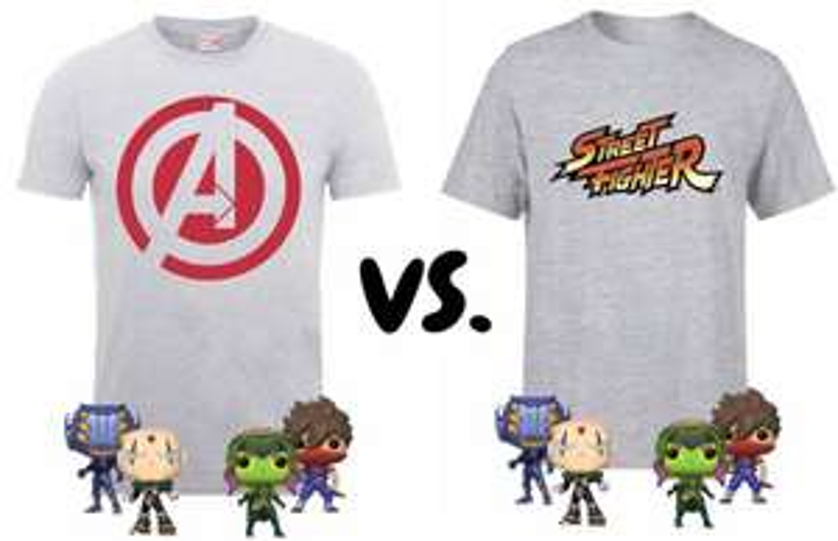 Marvel vs. Capcom Pakete --> 1 T-Shirt + 4 Funko-Pop!-Figuren