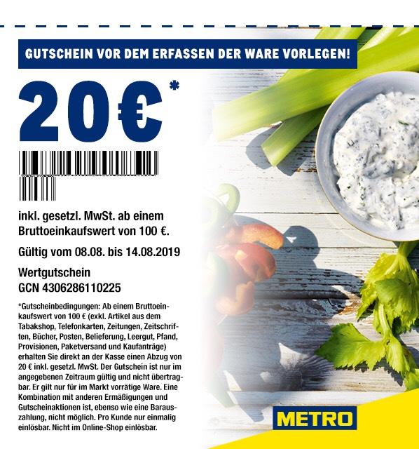 Metro 20 Euro Rabatt ab 100 Euro