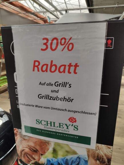30% auf alle Grills und Grillzubehör - Schley's Blumenparadies Ratingen [Lokal]