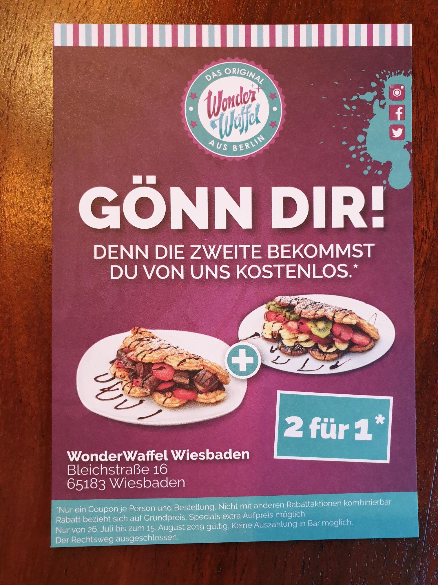 2 für 1 Aktion WonderWaffel Wiesbaden