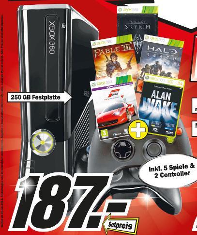 *Preiskracher* Xbox 360 Slim mit 250GB + 5 Games ( Forza 4, Skyrim, Fable 3, Halo Reach, Alan Awake) + 2 Controller im MediaMarkt Stuttgart-Vaihingen
