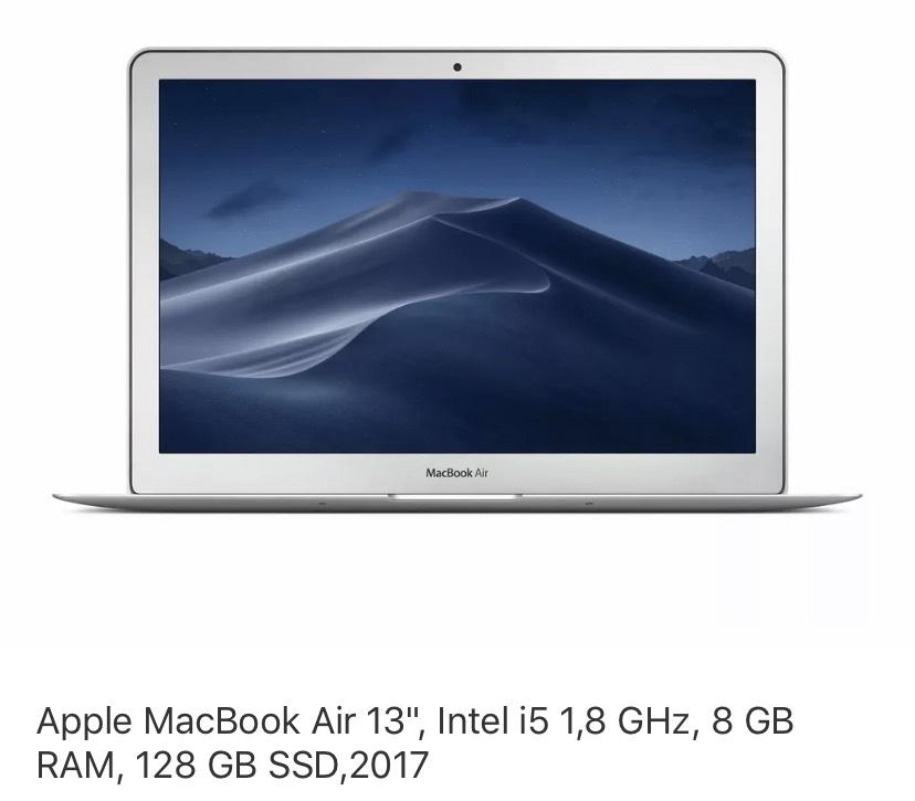 "Apple MacBook Air 13"", Intel i5 1,8 GHz, 8 GB RAM, 128 GB SSD,2017"