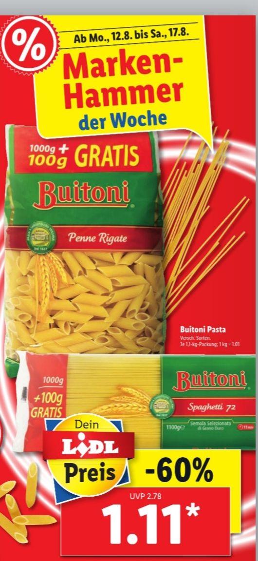 Lidl ab Montag 12.08.19 Buitoni Pasta Nudeln im 1KG Pack + 100g gratis für 1,11€ verschiedene Sorten