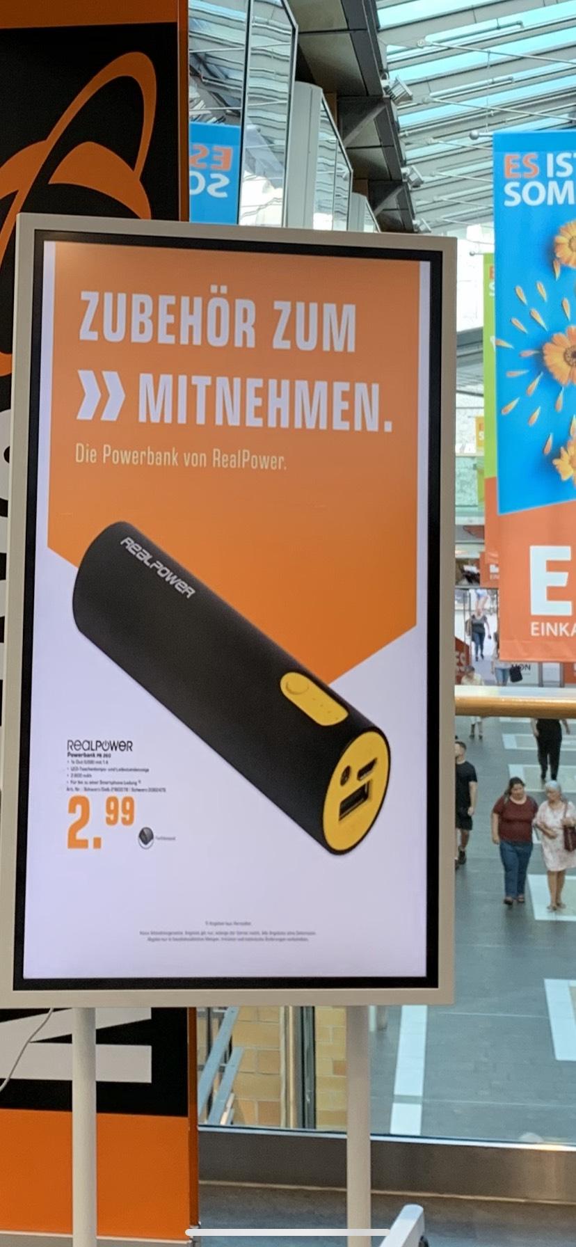 Realpower Powerbank im ES Esslingen Saturn für 2.99€