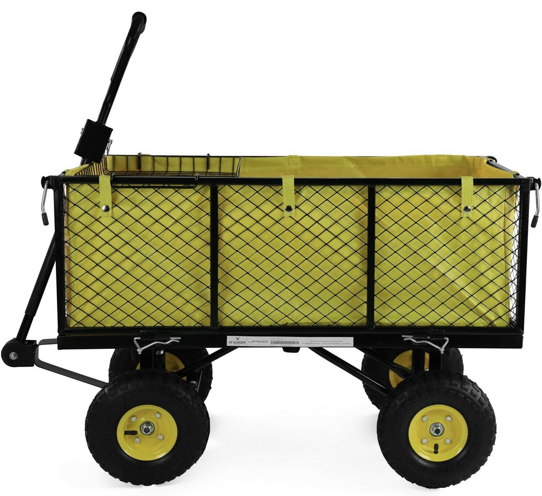 [real.de] Bollerwagen / Gartenwagen, bis 550kg Zuladung, 3 Bierkästen nebeneinander, mit herausnehmbarer Plane