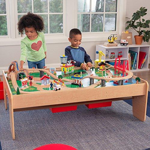 KidKraft 17850 Waterfall Mountain Holzeisenbahn-Set & Spieltisch für Kinder mit Stauraum und 120 Spielteilen (amazon+mytoys)