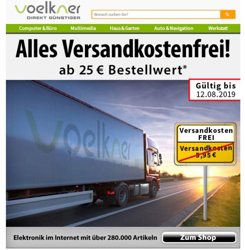 Voelkner - keine Versandkosten bis einschließlich Montag ab einem Mindestbestellwert von 25 €