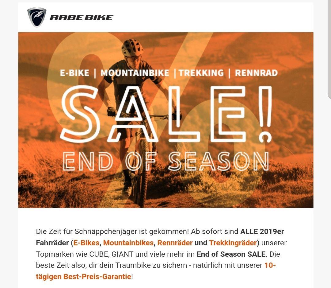 Sale bei RABE Bike min. 10 bis 30 Prozent Rabatt auf Bikes, auch Cube