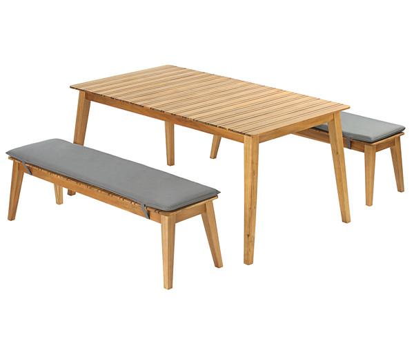 Akazien Essgruppe: Gartentisch und zwei Bänke inkl. Auflagen