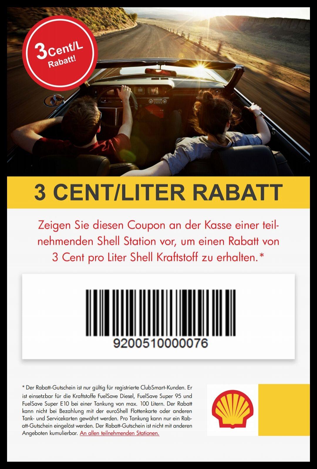 Shell - 3 Cent Rabatt pro Liter (ClubSmart Mitglied)