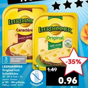 [Kaufland nur am 17.08 ] Leerdammer Original Scheibenkäse in versch.Sorten und Packungsgrößen für je 0,96€